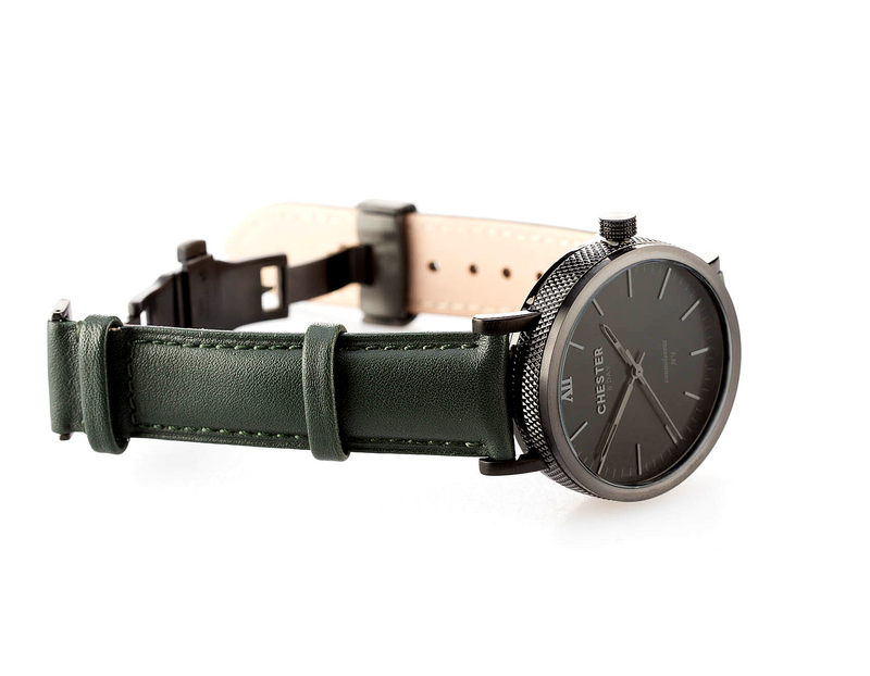 connoisseur black smoke + moss green strap