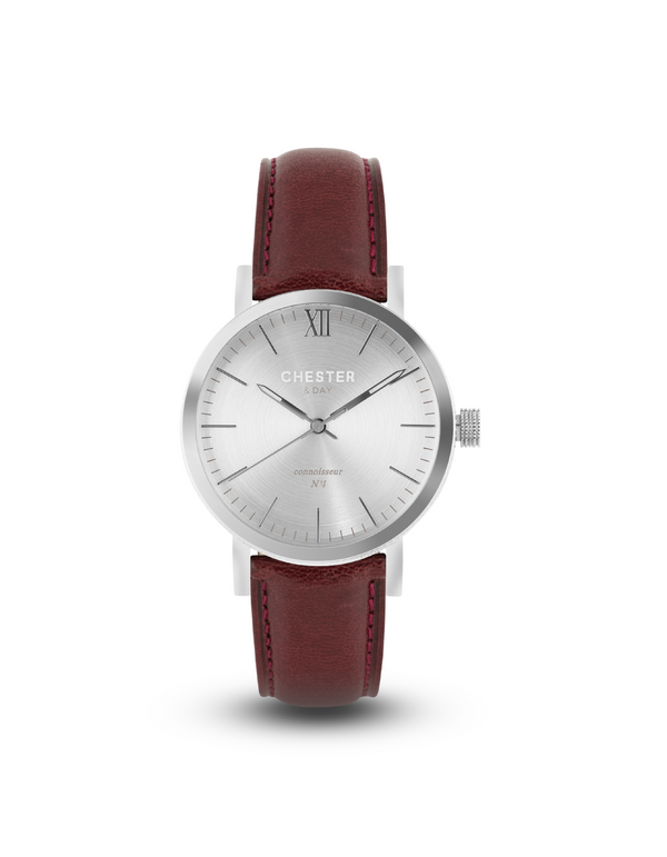 connoisseur steel + burgundy strap