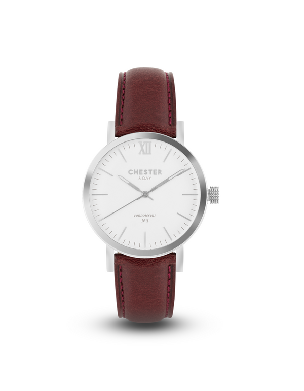connoisseur steel/white + burgundy strap