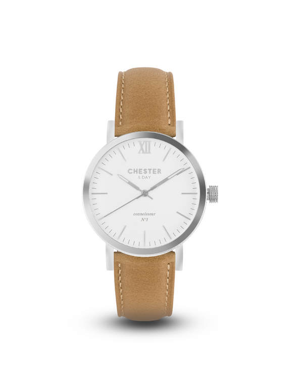 connoisseur steel/white + sand strap