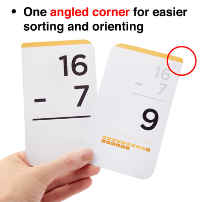 Each addition, subtraction, multiplication and division flash card comes with one angled corner for easier sorting.