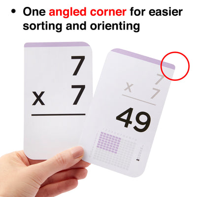Each multiplication flash card comes with one angled corner for easier sorting.