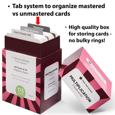 The multiplication flash card box comes with a tab system to organize mastered vs unmastered cards.