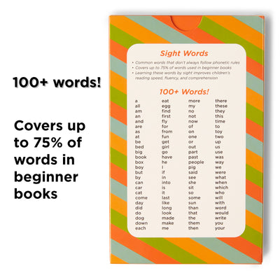 100 Sight Words for Pre-k.  Covers 75% of words in beginner books