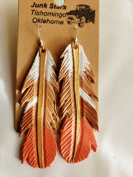 Dally style leather feather earrings