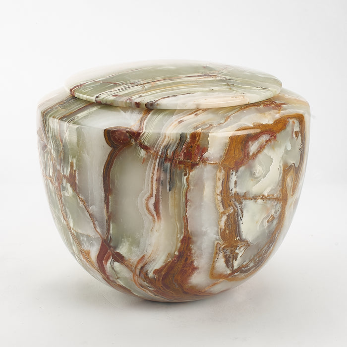Cremation Urn - Large Luxury Green/Caramel Marble Bowl