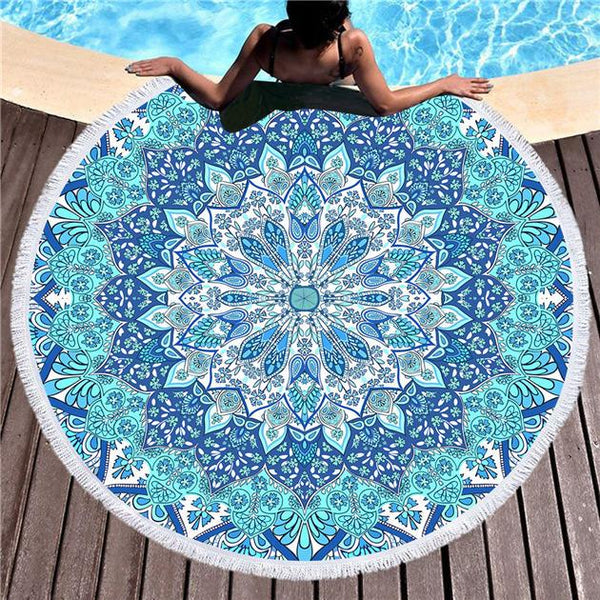 Purple/Blue Bohemian Round Beach Towel