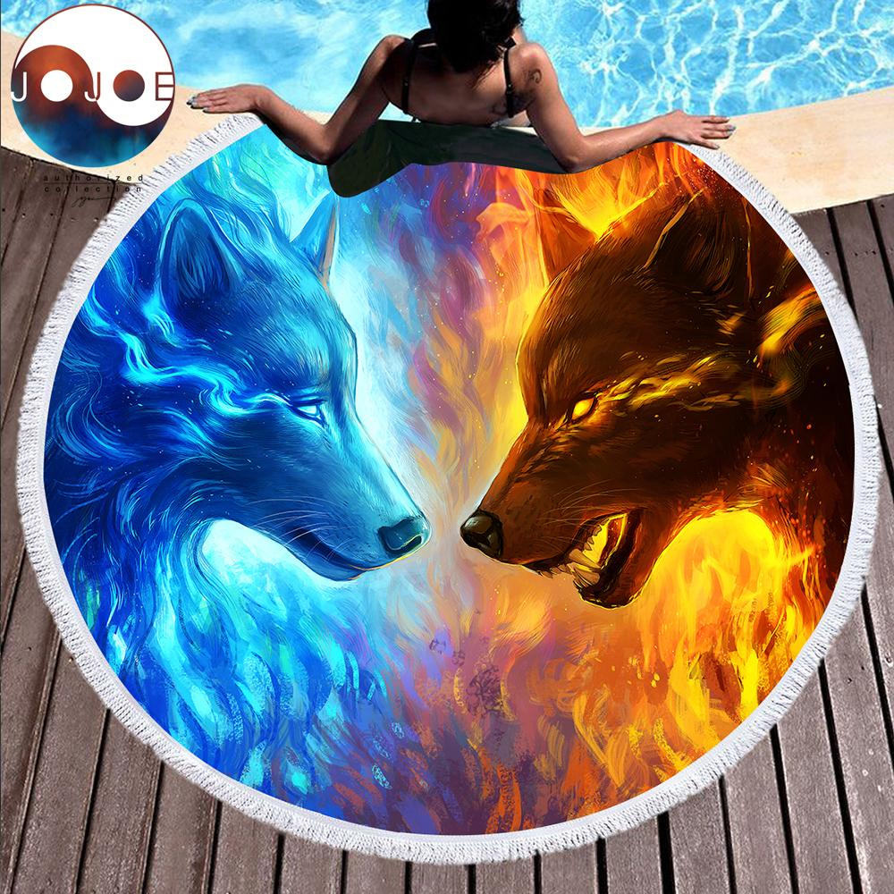 Fire and Ice Wolf Large Round Beach Towel by JoJoesArt