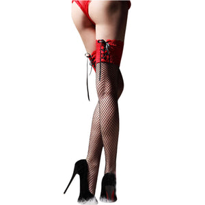 Hot Sale Sexy Sheer Straps Lace Fishnet High Thigh Stockings