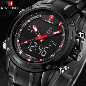 2017 Luxury Brand Men Military Sports Watches Men's Quartz LED Hour Analog , Full Steel Wrist Watch