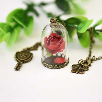 Red Rose Natural Dried Flowers, Crystal Necklace