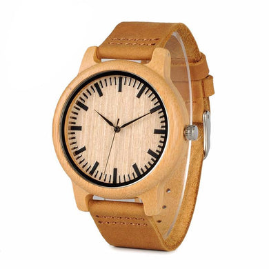 Men Women Bamboo Wood Quartz Watches With Scale Soft Leather Straps