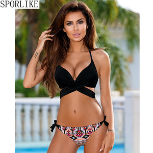 Hot New Push Up Bikini  Cross Stripe  Swimsuit