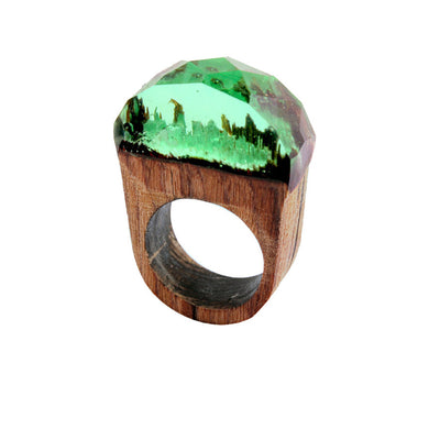19mm Handmade Wood Resin Ring with Magnificent Tiny Fantasy Secret Landscape
