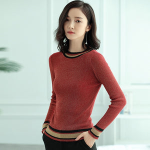 Knitted Pullovers Sweaters  Autumn Light Long Sleeve Casual Striped