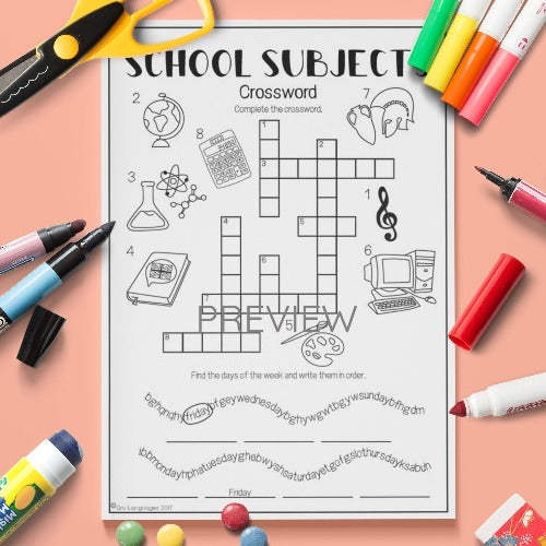 ESL English Kids School Subjects Crossword Worksheet