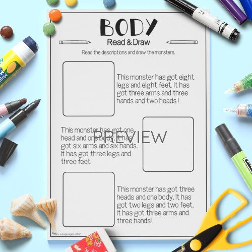 English ESL Kids Body Read and Draw Worksheet