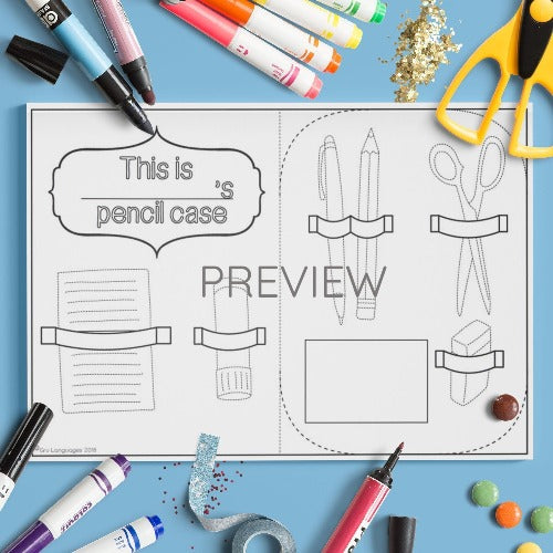 ESL English Kids School Pencil Case Craft Worksheet