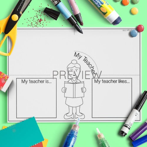 ESL English Kids School My Teacher Craft Worksheet