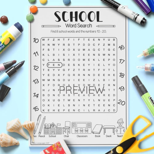 ESL English Kids School Word Search Worksheet