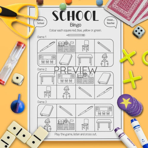 ESL English Kids School Bingo Game Worksheet