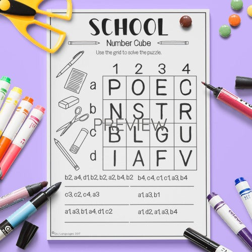 ESL English Kids School Number Cube Worksheet