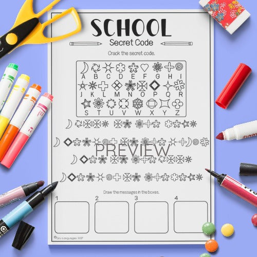 ESL English Kids School Secret Code Worksheet