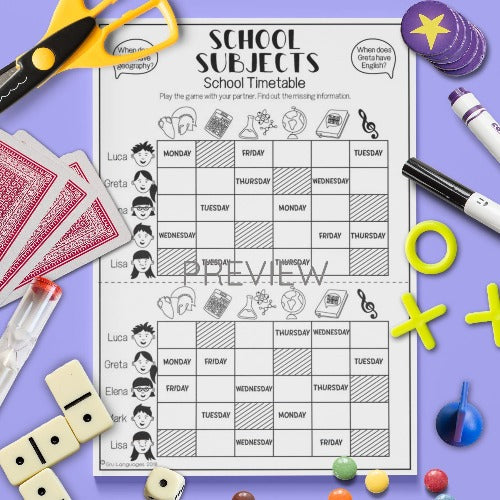 ESL English Kids School Subjects Timetable Game Worksheet