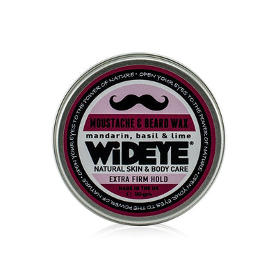 Natural vegan skincare extra firm moustache wax in aluminium tin handmade by WiDEYE in Rye.