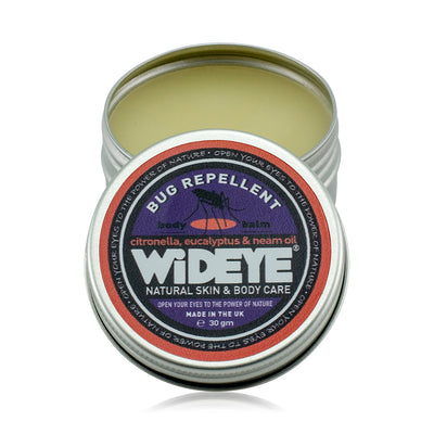 Natural vegetarian skincare bug repellent balm in an aluminium tin handmade by WiDEYE in Rye.