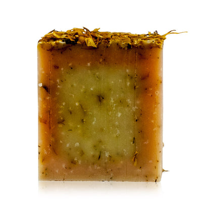 Natural vegan skincare Marigold butter soap bar handmade by WiDEYE in Rye.