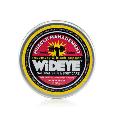 Natural vegetarian skincare Muscle Management active balm in aluminium tin, handmade by WiDEYE in Rye.