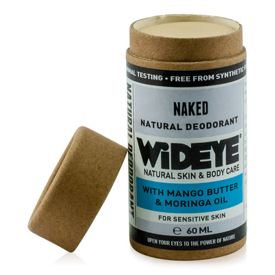 Natural vegan skincare Naked deodorant in recyclable cardboard container with lid off, handmade by WiDEYE in Rye.