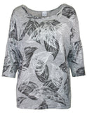 Foil Feather Print Top