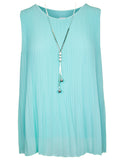 MITZY Pleat Blouse With Necklace