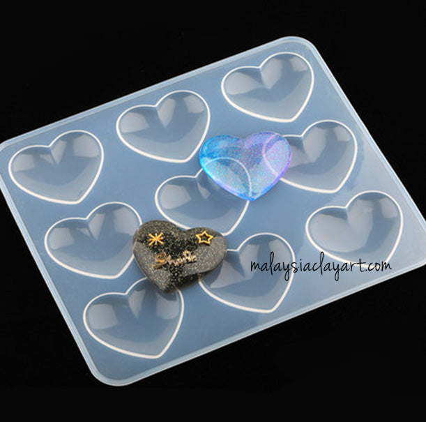 Love Heart Shape 9 Cavity Silicone Mold