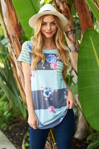 Floral Striped Top