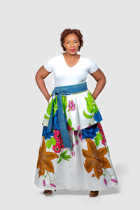African Print Floral Custom Made Maxi Skirt