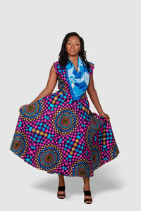 African Print Pink Multicolor Wrap Dress