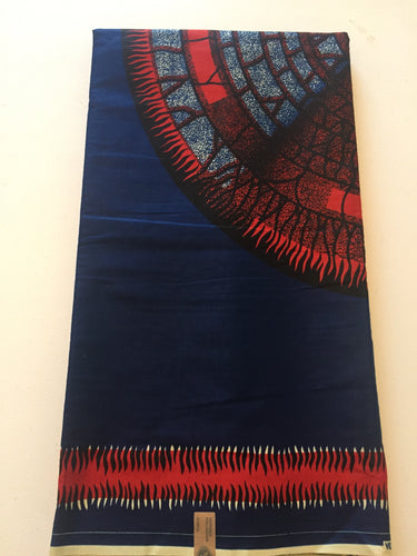 Dashiki Prints - Blue and Red Medallion