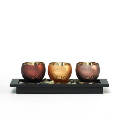 Metallic Bronze Candle Holder Bowl With Arabic Scripture & Decorative Pebble Tray