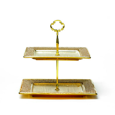 Majestic Gold Diamante Square 2 Tier Stand