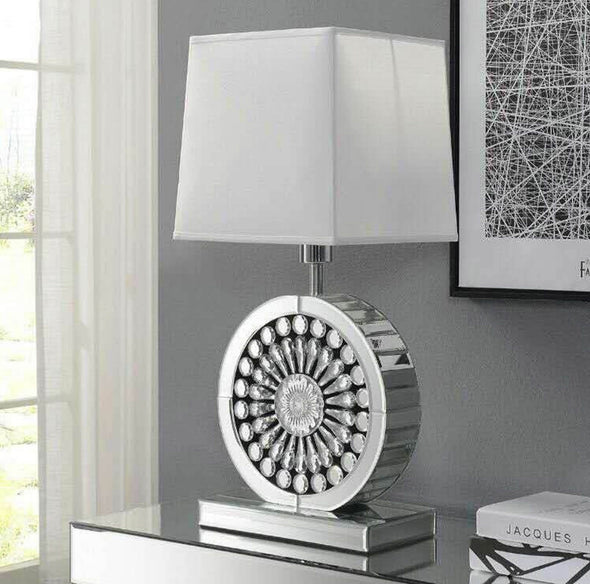Crystal White Mirrored Table Lamp