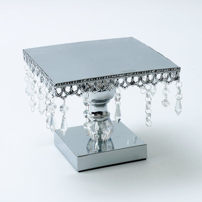 Luxurious Silver Crystal Square Cake Stand