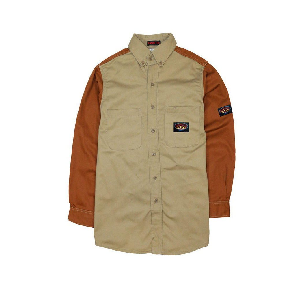 Rasco FR LKB759 Khaki Brown Duck Two Tone Work Shirts