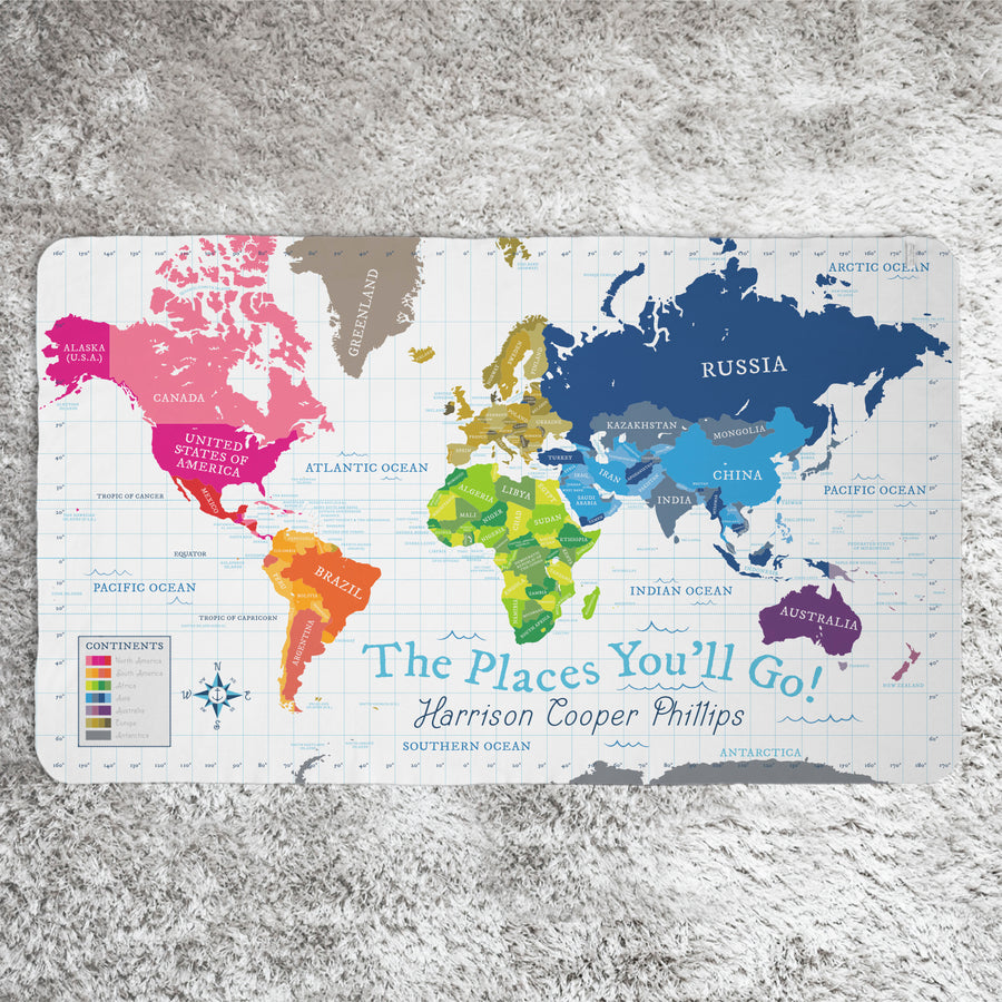 World Map Blanket - White