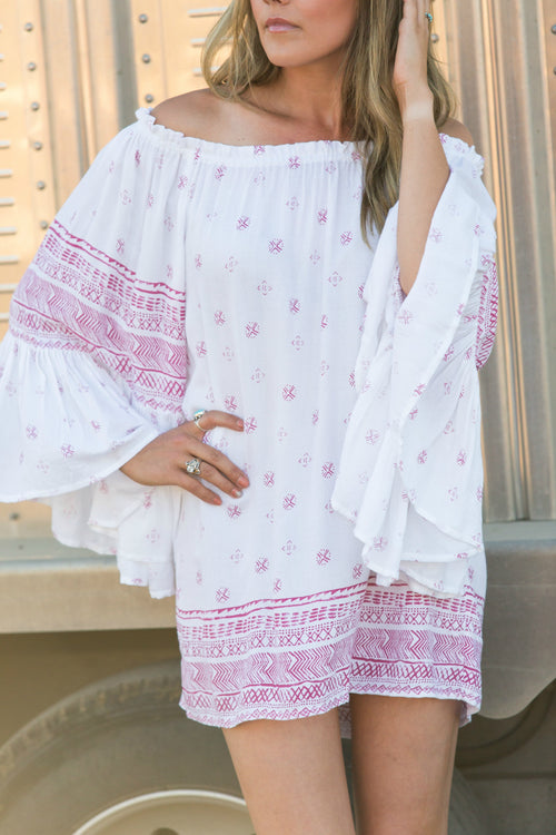 Coral Stamped Tunic