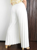Ivory Pleated Wide Leg Pants - Marble Hive