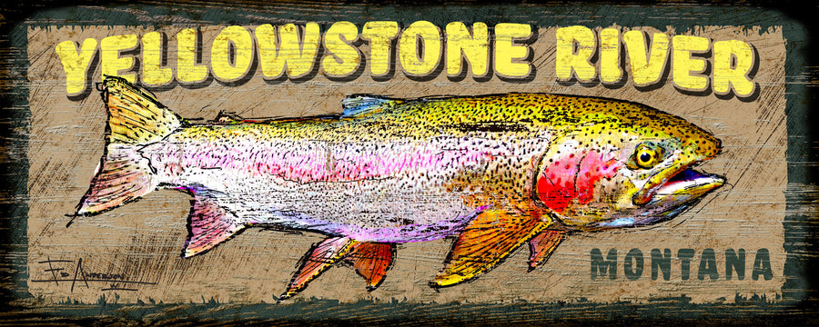 Rainbow Trout Textured Sign