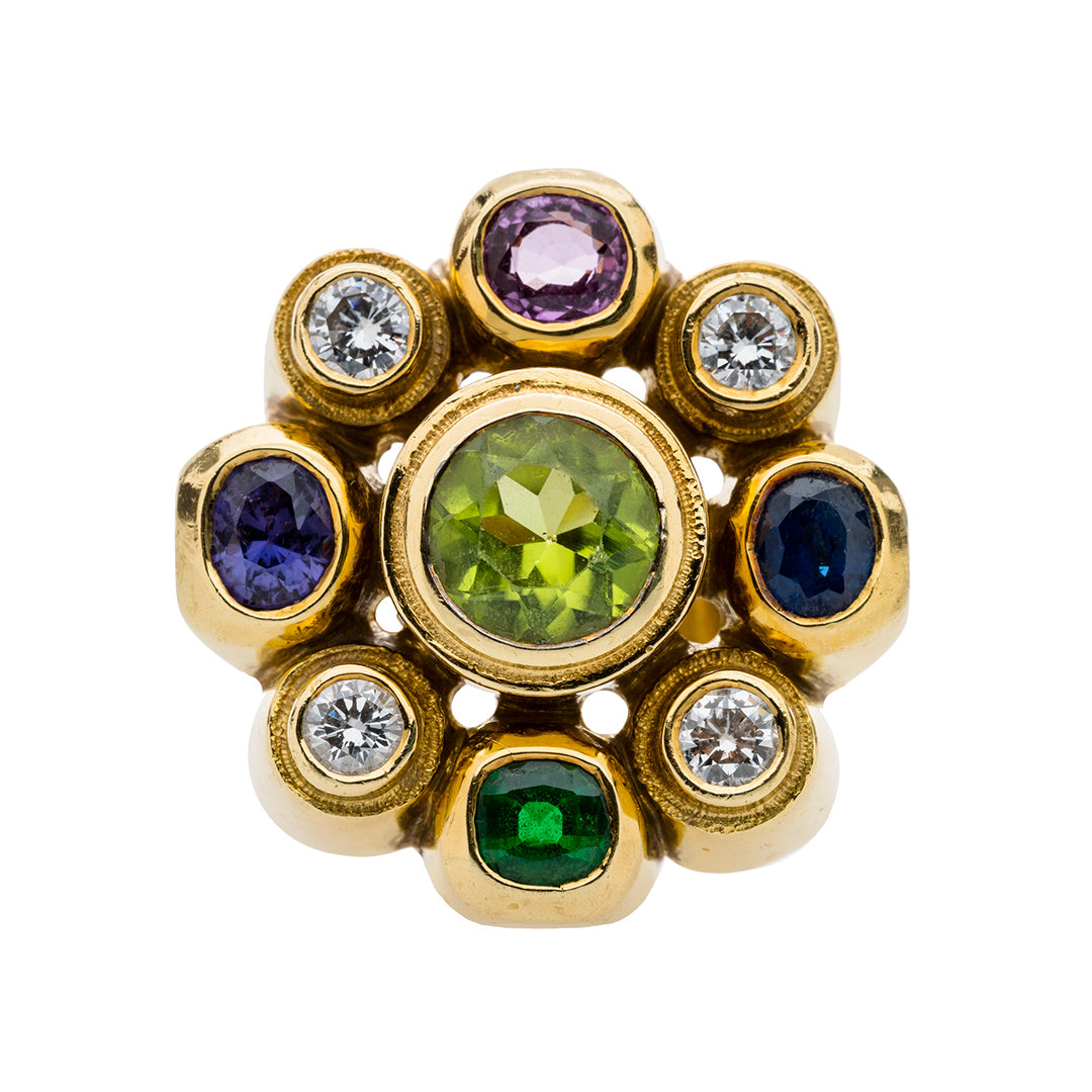 A Funky Yellow Gold, Diamond and Gemstone Cocktail Ring